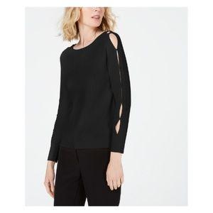 Anne Klein Split-Sleeve Tabs Sweater Hits At Hip